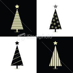 Black and white christmas trees Royalty Free Stock Vector Art Illustration