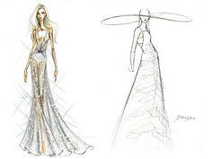 Croquis do Vestido de Noiva Lady Gaga - Diane Von Furstenberg e Misha Nonoo