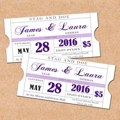 Purple Printable Stag And Doe Tickets