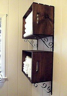 Stained crate shelves  #creative #homedisign #interiordesign #trend #vogue #amazing #nice #like #love #finsahome #wonderfull #beautiful #decoration #interiordecoration #cool #decor #tendency #brilliant #love #idea #modern #astonishing #impressive #art #diy #shelving #shelves #shelf #original #retro #classic #reuse #recycle #renew #doityoursel #bathroom  http://www.finsahome.co.uk/shelving