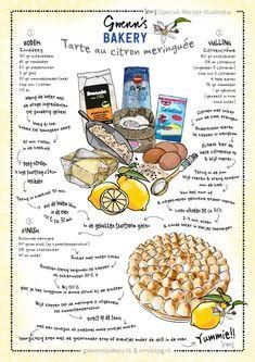 Citroen meringue taart voor Moederdag van Gwenn's Bakery geïllustreerd door irms. #recipe #illustration #recept #illustratie Cooking Cake, Cooking Recipes, Meringue Recept, Food Journal, Food Illustrations, Homemade, Baking, Sweet, Desserts