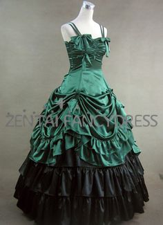 Gorgeous Double Shoulder Strips Multi Layers Green Gothic Victorian Dress