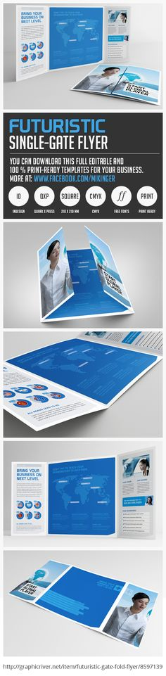 """From Mikingers """"Futuristic Serie"""" a clear and professionally single gate fold flyer for your business – easy to use and change. Just copy & paste your text and replace your own images! You can download this full editable template at http://graphicriver.net/item/futuristic-gate-fold-flyer/8597139ref=mikinger"""