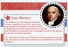 Over 100 Fascinating Facts About U.S Presidents Past and Present Facts About US Presidents James Madison History For Kids, Us History, Women In History, History Facts, American History, British History, Ancient History, Native American, President Facts