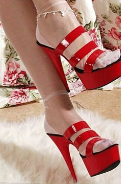 Pretty white reinforced heel toe RHT nylons in sexy red Mule platforms. CLICK Visit link for more info Red Stiletto Heels, Red High Heels, Platform High Heels, High Heel Boots, Red Platform, Sexy Sandals, Hot Heels, Sexy Heels, Dress Sandals