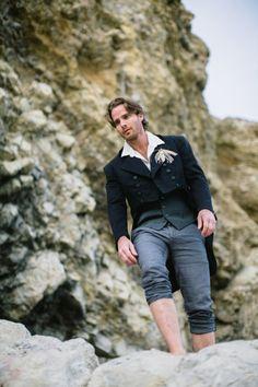 Robby Huband (Model) Groom's attire via H, Western Costume - Terranea wedding inspiration from Evan Hunt + Shawna Yamamoto Event Design