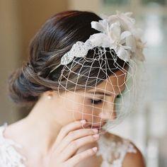 Birdcage veil, silk flowers, wedding headband, bridal veil, hair, headpiece, Style Louise 1908