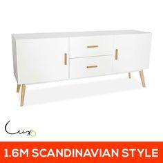 NEW Matte White 2 Door 2 Drawer Sideboard Storage Buffet Table Dresser Cabinet