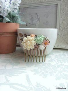 Ivory Mum Flower Soft Green Rose Flower Collage Hair by Marolsha, $31.00