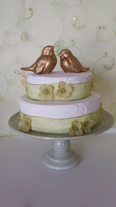 Gold Love Birds Wedding Cake Topper Wedding Favors Ceramic Birds Home Decor on Etsy, $35.00