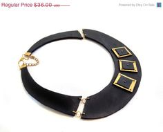 50 OFF SALE Leather bib necklace Statement collar by julishland