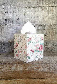 Tissue Box Cover Blue White and Pink Tissue Box Holder Floral Cottage Chic Tissue Box Cover Plastic Tissue Box Holder Bathroom Decor by TheDustyOldShack on Etsy