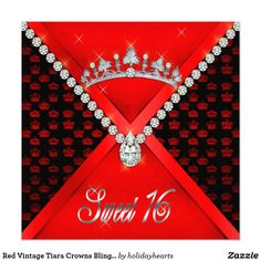 """Red Vintage Tiara Crowns Bling Diamond Sweet 16 Card Embellished with a tiara and encrusted with diamonds on a background of vintage crowns, this two-sided Sweet 16 invitation will have all of your Princess's subjects genuflecting at her feet. Please note that all embellishments are digital imagery only (faux / fake) to create a Trompe-l'œil effect. Available in 17 gorgeous colors in both 5"""" x 7"""" and 5.25 """" x 5. Original design by Holiday Hearts Designs incorporating vintage elements (all…"""