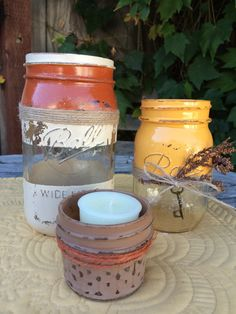 Fall Chic Painted Mason Jar set of 3 by TwineandDandy on Etsy