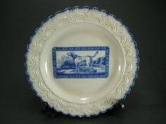 c1800 Staffordshire Pearlware Blue & White feather Edge Plate Fox Hound Dog £133