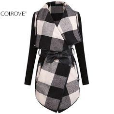 Ladies Trench Coat Casual Splicing Black White Plaid Long Sleeve Belt Coat