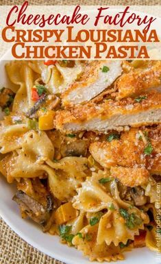 Louisiana Chicken Pasta with crispy Parmesan chicken is the best Cheesecake Factory Copycat ever! Louisiana Chicken Pasta with crispy Parmesan chicken is the best Cheesecake Factory Copycat ever! Louisiana Chicken Pasta, Cajun Chicken Pasta, Shrimp Pasta, Frozen Chicken, New York Cheesecake Rezept, Cheesecake Factory Recipes, Dessert Pasta, Cooking Recipes, Healthy Recipes