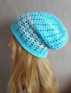 Slouchy spring hat for women blue cotton springhat by MadeByKirsti