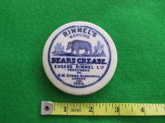 A Rimmel's Genuine Bears Grease Pot Lid. Rare Blue Print.