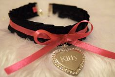 KITTY Engraved Heart BDSM Collar Silver Crystal Diamante Charm Black Pink Ribbon Cosplay Choker Cat Necklace Neko Kitten Slave Fetish