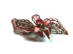Pink Brooch Pink Rhinestone & Enamel Flower Pin (sn 681) #vintage #giftguide