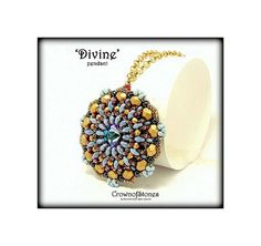 NEW beading pattern Pendant 'Divine' with by CrownofStones on Etsy