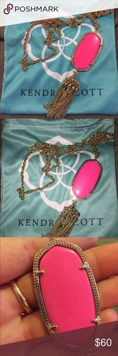 Kendra Scott Rayne necklace neon pink Rayne necklace in neon pink... a bright hot pink that has a slight hint of neon.  Condition is like new. Also looks cute doubled and worn as a choker! Kendra Scott Jewelry Necklaces
