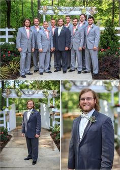 gray and coral groomsmen looks #countrywedding #groomstyle #wedddingchicks http://www.weddingchicks.com/2013/12/23/country-chic-wedding-2/