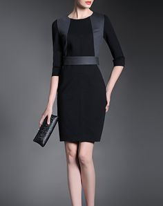 Black Elegant Slim Fit Mini Dress
