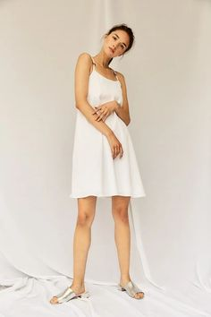 Devlyn Van Loon Slip Dress - White on Garmentory Modern Essentials, Dress Silhouette, Get Dressed, Flare Dress, Perfect Fit, Cotton Fabric, White Dress, Sliders, Outfits