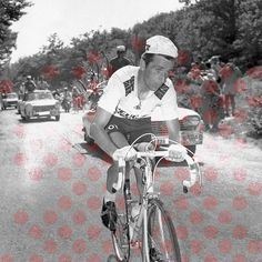 The Polka Dot jersey (Pois Rouges) is awarded to the Tour's 'King of the Mountains'. A limited edition series of nine prints has been created for the LE TOUR show, these featuring some of the famous climbs, and the duels which were played out on their hallowed slopes - 13th July 1967.   Tour de France.  Stage 13 - Marseillle to Carpentras.  Tom Simpson begins his fateful ascent of Mont Ventoux.