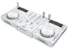 My new Pioneer CD-Js and matching and of course I have matching white headphones! Almost had white speakers on the way, but they were on back-order. Dj Kit, Dj Dj Dj, Dj System, Digital Dj, Digital Media, Karaoke System, Dj Setup, Pioneer Dj, Dj Gear