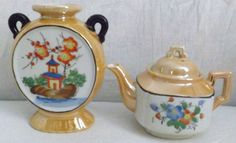 Vintage Lot of 2 Hand Painted Lustreware Pieces - Teapot & Vase - Made In Japan