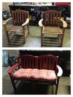 Repurposed old wooden chairs into a bench. - July 13 2019 at Furniture Projects, New Furniture, Furniture Making, Furniture Makeover, Office Furniture, Vintage Furniture, Refurbished Furniture, Repurposed Furniture, Painted Furniture