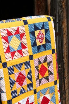 Gingham Girls Fabric and Patterns Star Quilt Blocks, Star Quilt Patterns, Star Quilts, Scrappy Quilts, Easy Quilts, Sampler Quilts, Sewing Patterns, Gingham Quilt, Yellow Quilts