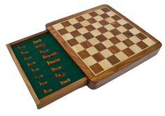 """12"""" Magnetic Drawer Chess Set, $40. Find it here: https://www.wholesalechess.com/shop/chess-sets/travel-chess-sets/12-magnetic-drawer-chess-set"""