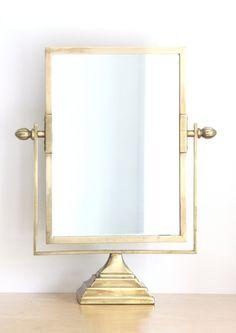 Antique Brass Pedestal Vanity Mirror