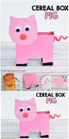 53 Trendy Recycled Art Projects For Kids Cereal Boxes Arts And Crafts For Adults, Arts And Crafts House, Easy Arts And Crafts, Crafts For Seniors, Arts And Crafts Projects, Recycled Art Projects, Recycled Crafts, Pig Crafts, Preschool Crafts