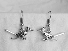 Beautiful pair of Silver Earrings with Roadrunner and Hypoallergenic Surgical Steel Ear Wires by COOLSTUFFGOODPRICES on Etsy