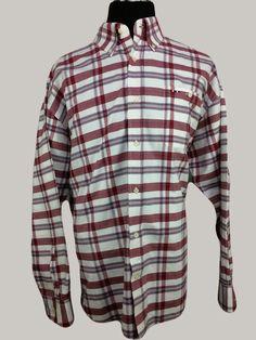 LARRO Mens 2XL Western Casual Shirt Long Sleeve Red White Plaid Cotton #Larro #Western