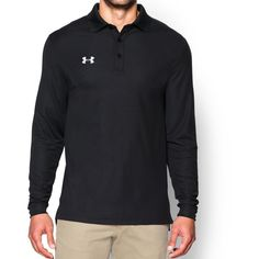 3a30133b Under Armour size S black polo shirt. Smooth, soft anti-pick, anti-pill  fabric has a cleaner, snag-free finish.