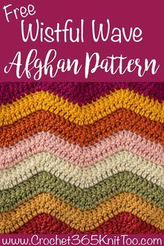 Fun and fast Wistful Wave Crochet Blanket pattern is easy to crochet. Use scrap yarn or make it a planned crochet afghan! #wistfulwavecrochetblanket #crochetafghan #crochet365knittoo Crochet Wave Pattern, Crochet Baby Blanket Free Pattern, Crochet Square Patterns, Crochet Blanket Tutorial, Free Crochet, Crochet Ripple Blanket, Crochet Afghans, Crochet Blankets, Crochet Shawl