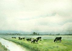 Koeien in het weiland Nederlandse landschap door VerbruggeWatercolor
