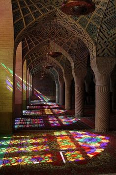 Into the Mosque. Nasir-ol-Molk Mosque, Shiraz, Iran By Rowan Castle - LOVE the reflection of the stained glass on the floor! Art Et Architecture, Islamic Architecture, Beautiful Architecture, Beautiful Buildings, Stained Glass Art, Stained Glass Windows, Mosaic Glass, Leaded Glass, Mosaic Windows