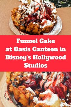 Funnel Cake with Strawberry Topping and Soft Serve Vanilla Ice Cream at Oasis Canteen in Disney's Hollywood Studios Homemade Funnel Cake, Homemade Cake Recipes, Strawberry Topping, Strawberry Cakes, Disney Snacks, Disney Food, Walt Disney, Disney Magic, Oasis