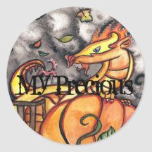 My Precious Halloween Dragon Classic Round Sticker Spooky Halloween, Halloween Treats, Halloween Pumpkins, Happy Halloween, Halloween Party, Halloween Celebration, Witch House, Chocolate Covered Oreos, Round Stickers