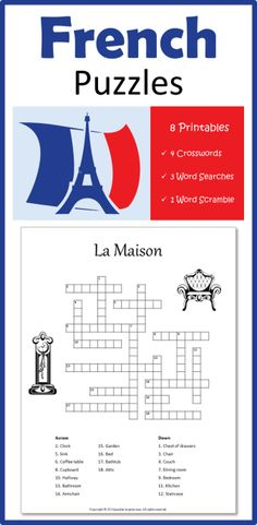 French Vocabulary Puzzles - A great way to effortlessly increase your French vocabulary.  Word searches, crosswords, and word scrambles on a variety of subjects including la maison, shopping, le corps humain, and les animaux,