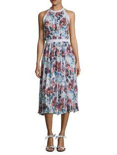 Floral Print Pleated Midi Dress by Mary Katrantzou at Gilt