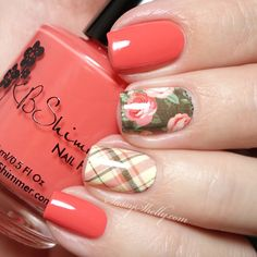 KBShimmer Roses and Plaid Water Slide Decals - easy nail art | Sassy Shelly     #nails #nailart