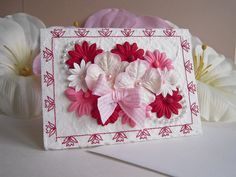 Note Card of Pink and Wine Floral and Pearls by warmtouchcreations